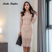 2 piece set womens Sexy tops and skirts 2018 Winter Lace Hollow Mosaic White suits set ladies Skinny business suit twinset Girls