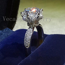 Engagement wedding Band ring for women 3ct Cz Diamonique ring 925 Sterling Silver Female Finger ring
