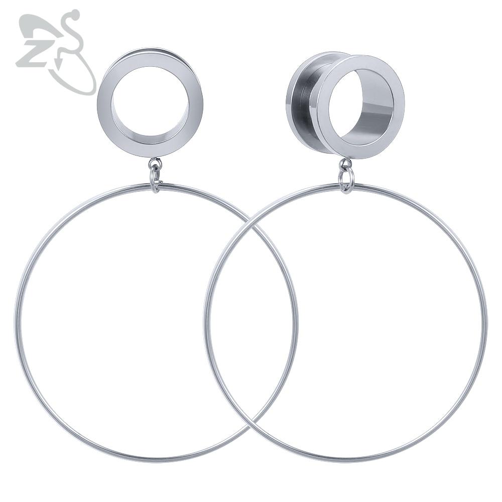 ZS Tunnels-Ear-Plugs Expander Dangle-Gauges Body-Jewelry Piercing Surgical-Steel Women