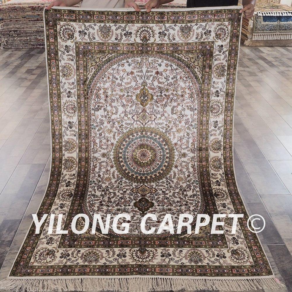 YILONG 4x6 tabriz carpet white and green vantage antique handmade kashmir silk rug  (YHW87B4x6)YILONG 4x6 tabriz carpet white and green vantage antique handmade kashmir silk rug  (YHW87B4x6)