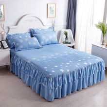 Belia Cross-border Bed Cover Aloe Cotton Single Side Skirt Korean Princess Wholesale Three-piece Set