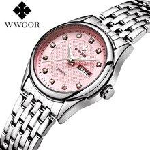 WWOOR Mujeres de la Marca de Relojes Superior de Lujo de Moda Femenina Señoras Reloj de Cuarzo Reloj Casual Horas Fecha Reloj del relogio feminino