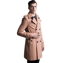 2017 New Autumn High Fashion Trend Street men's Wool Blend Trench Coat Casual Long Outerwear Men Loose Clothing Plus Size S-6XL