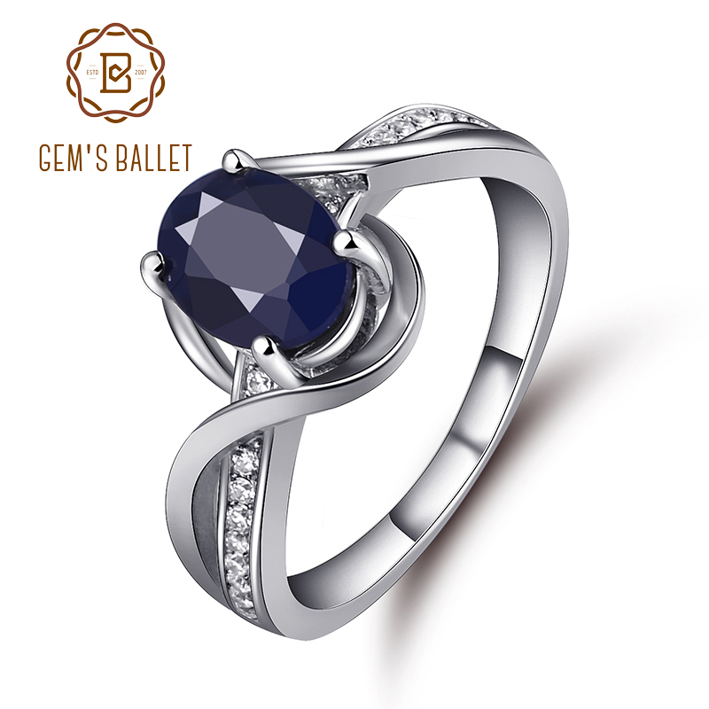 Gem's Ballet  1.66Ct Oval Natural Sapphire Gemstone Engagement Rings 925 Sterling Silver Fine Jewelry For Women Drop Shipping