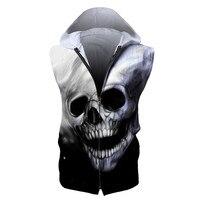 Drop Shipping USA SIZE Fashion Brand Sleeveless Hoodies For Men Skulls Digital Printing Zipper Casual Hooded