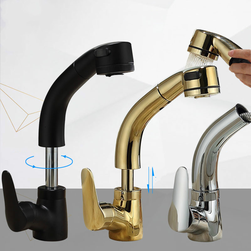 BAIDAIMODENG Brass Body Lift Pull Basin Basin Hot and Cold Water Faucet Telescopic Rotatable Shampoo Black Gold Lengthened-in Basin Faucets from Home Improvement    1