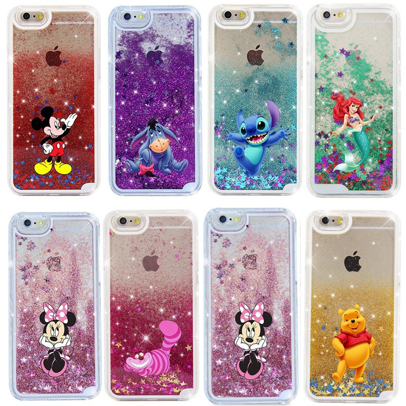Fashion Cartoon Mickey Phone Cases Bling Dynamic Liquid Glitter Quicksand Hard PC Cover For iPhone 5 5S 6 6S Plus 7 7Plus MN251