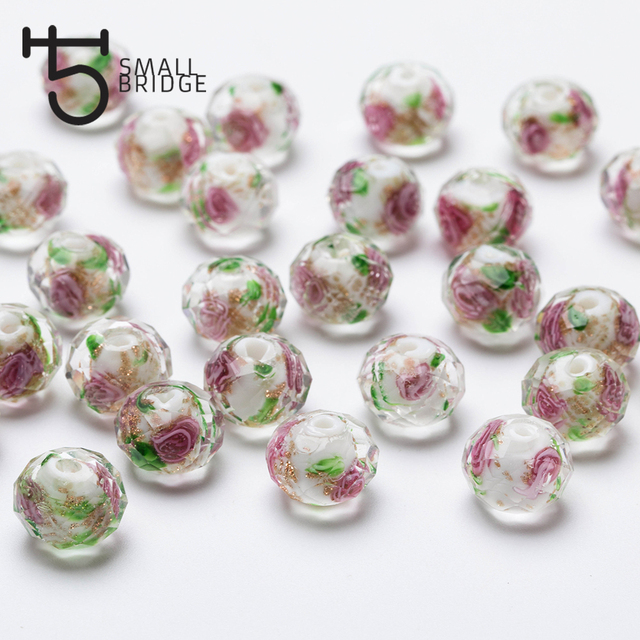 12mm Large Murano Transparent Glass Lampwork Beads for Jewelry Making Women Diy Bracelet Flower Rondelle Faceted Beads L002 4