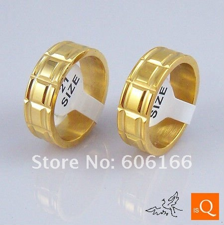 18x 18K GP Gold Plated Nice Ring Stainless Steel Ring Fine Fashion Jewelry Rings