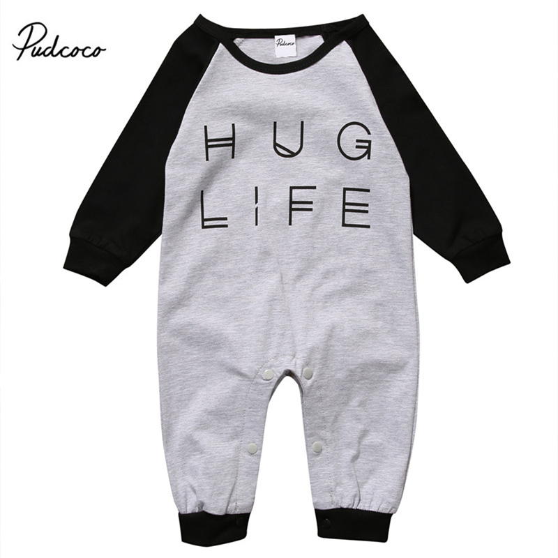 Hug Life Newborn Baby Boys Girls Letter   Rompers   Infant Babies Cotton   Romper   One-pieces Kids Clothing 0-24M