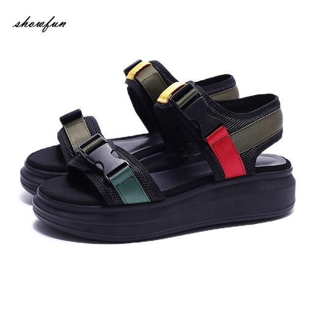 41efa8fe6 Plus Size Women's Platform Flats Sandals Brand Designer Plastic Buckle Mesh  Silk Patchwork Summer Sandalias Punk Shoes for Women