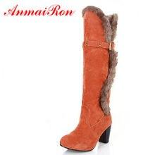 20fbba90 ANMAIRON/модные осенне-зимние женские ботинки на платформе, ботинки на  высоком каблуке, женские ботинки, теплая обувь оранжевого.