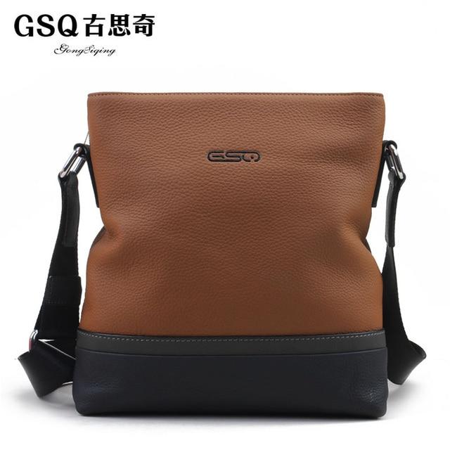 Gsq autumn new arrival man bag fashion elegant genuine leather casual shoulder bag messenger bag