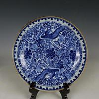 Antique QingDynasty Porcelain Plate Blue And White Phoenix Dish 6 Hand Painted Crafts Best Collection Adornment