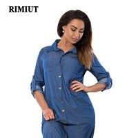 RIMIUT 2017 New Big Size Plus Loose Denim Blue Women Casual Dress Fashion Fat MM 6XL