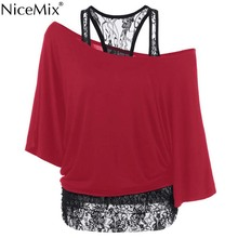 NiceMix 5XL Plus Size T Shirt Women Casual 2pcs Set Batwing Short Sleeve Loose T-shirt Female Top Lace Stitching Inclined