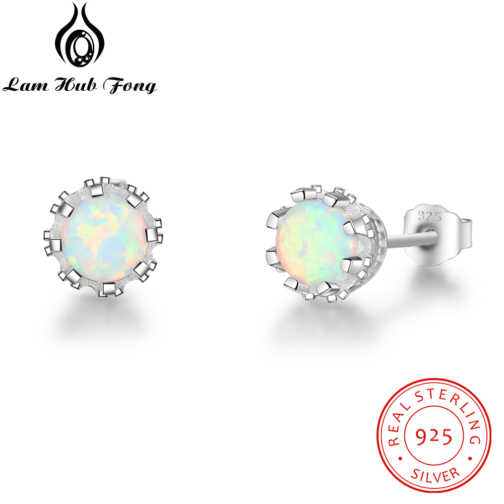 Round Created White Fire Opal 7mm 925 Sterling Silver Örhängen - Fina smycken