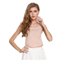 16Color 2014 New Fashion Summer Women Chiffon Sleeveless Vest Solid candy color plus size Chiffon blouse women Tops(one+one)