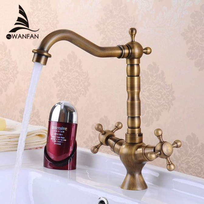 Kitchen Faucet Antique Bronze Brass Kitchen Sink Faucet Double Handle 360 Rotation Tall Spout Cold Hot Water Mixer Tap HJ-6713F antique brass swivel spout dual cross handles kitchen
