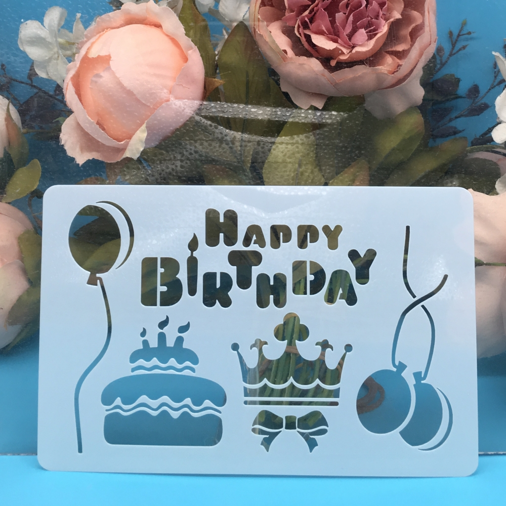 15cm Birthday Cake Balloon DIY Craft Layering Stencils Wall Painting Scrapbooking Stamping Embossing Album Decor Card Template