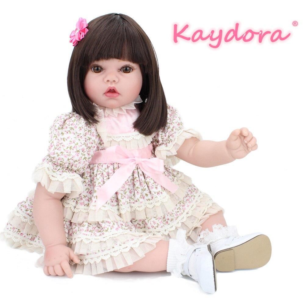 Kaydora dziecko Reborn 22 cal silikonowe Reborn Baby różowy kwiat biała sukienka księżniczki realistyczne winylu lalki dla dzieci prezent lol boże narodzenie w Lalki od Zabawki i hobby na  Grupa 1