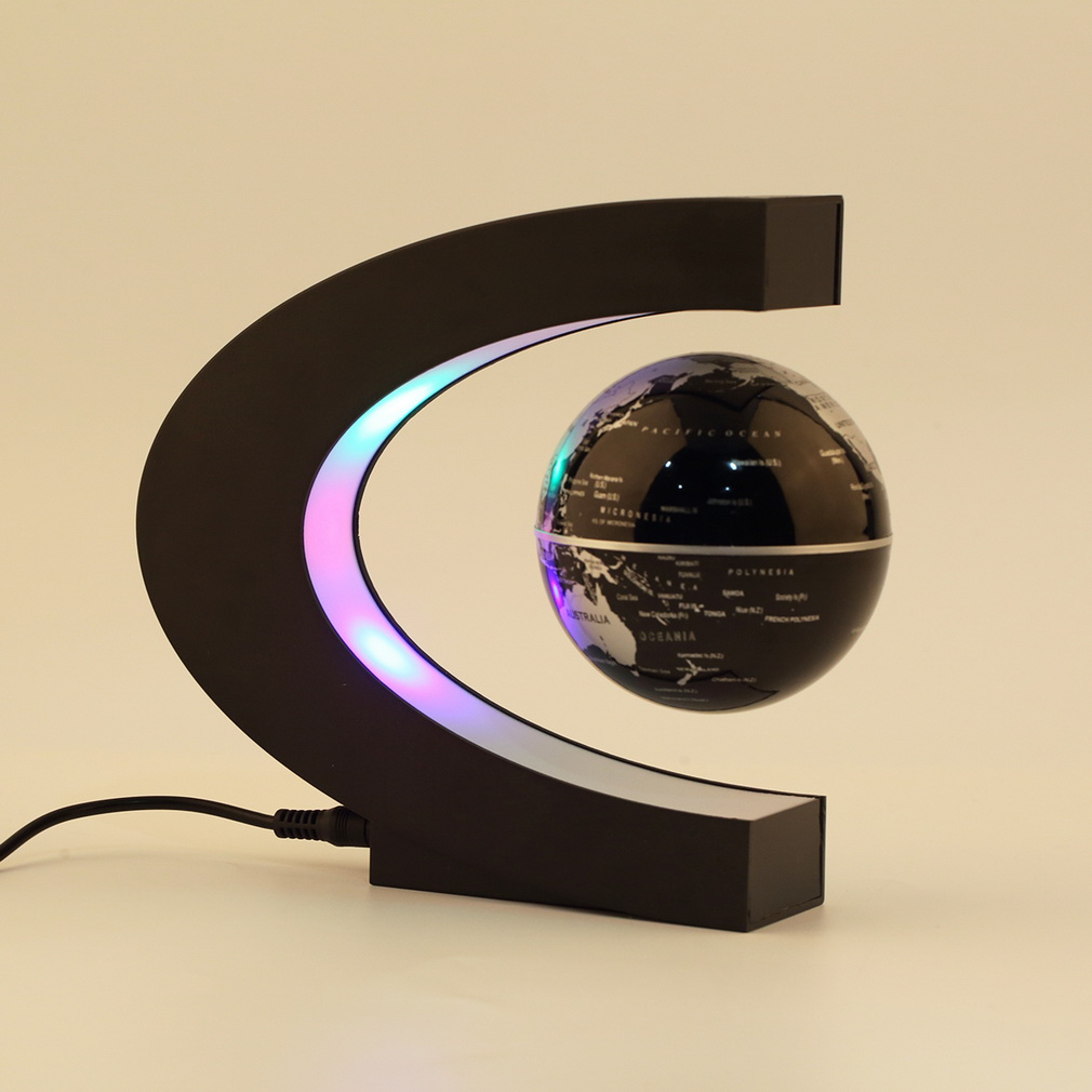 C shape LED World Map Floating Globe Magnetic Levitation Light Antigravity magic/novel light Xmas Birthday Gift Home Decor E5M1 magnetic floating levitation 3d print moon lamp led night light 2 color auto change moon light home decor creative birthday gift