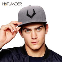 High Quality Grey Wool Snapback 3D Pierced Embroidery Hip Hop Cap Flat Bill Baseball Cap For