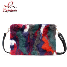 New Fashion Women's Clutches Bags Lady Mixed Faux Fur Clutch Handbags Shoulder Bags Pouch Party Messenger Purse Colorful Bag(China)