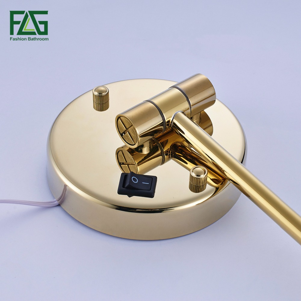 "Golden Brass LED Light Makeup Mirrors 8"" Round Dual Sides 3X /1X Mirrors Bathroom Cosmetic Mirror Wall Mount Magnifying Mirror 4"
