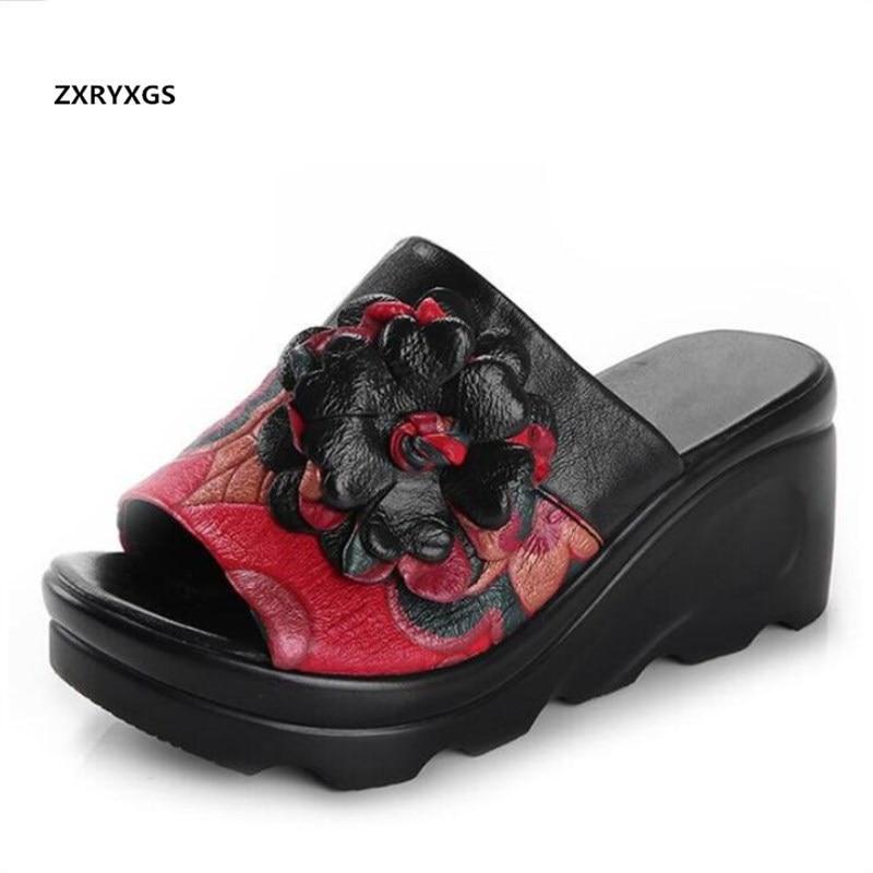 Été chaussures en cuir véritable femme nouvelles chaussures saandals 2019 à la main fleur femmes sandales pantoufle plate-forme compensées sandales de mode
