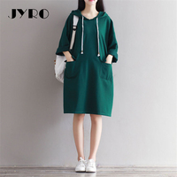 JYRO Brand Mori Women S Dresses New A Green Fleece Art Long Loose Large Size Knee