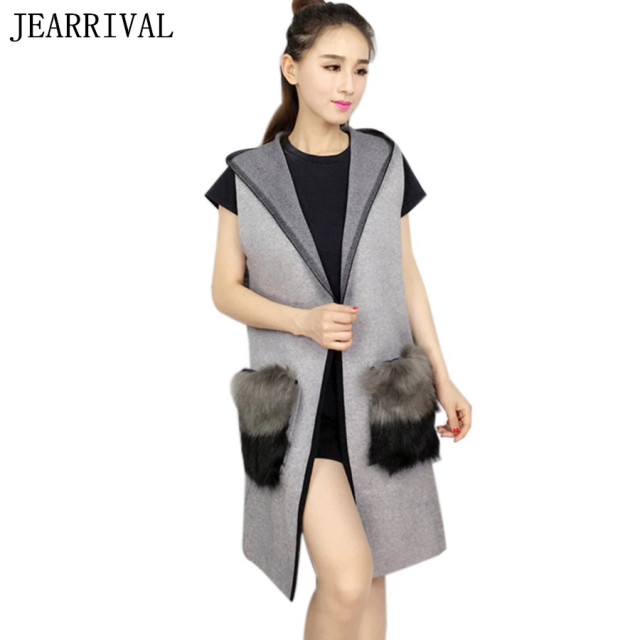 2017 New Fashion Women Knitted Long Vest Coats Autumn Winter Hooded Fur Pockets Sleeveless Waistcoat gilet chalecos mujer