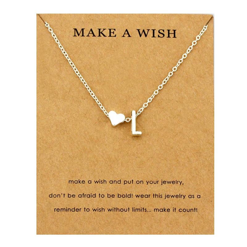 Сердце начальные Подвески ожерелье s персонализированное ожерелье с буквами Имя ювелирные изделия для женщин мужчин аксессуары подруги любовника пара подарок - Окраска металла: NE1666