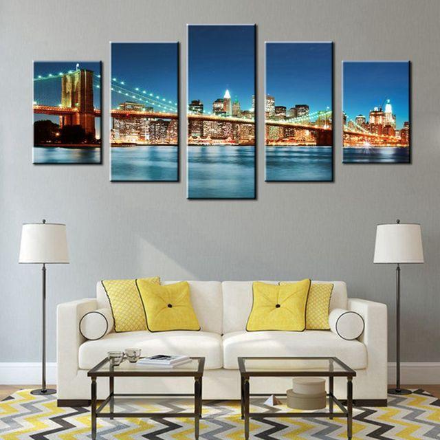 Brooklyn Bridge Canvas Wall Art Blue Modern Cityscape Painting New York  City Night View Scene Artwork
