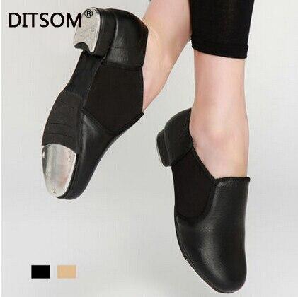 Nouvelles chaussures de danse du robinet adulte en cuir véritable sans lacet Stretch qualité pleine semelle en aluminium chaussures de danse du robinet pour les femmes garçons