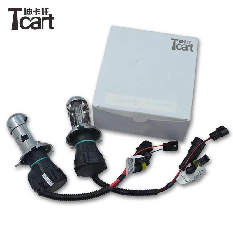 Tcart 2 шт./пара 35 Вт H4 12 V AC HID Автомобильная Сменные лампы для фар H4 Bi h4 Hi короче спереди и длиннее сзади) 12 v луч света лампа 4300 K 6000 K