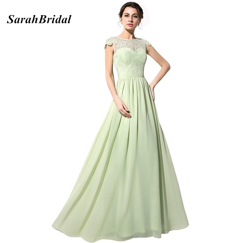 Simple Elegant Tea Length Chiffon Cap Sleeve Wedding: Aliexpress.com : Buy Elegant Sage Lace Bodice Long