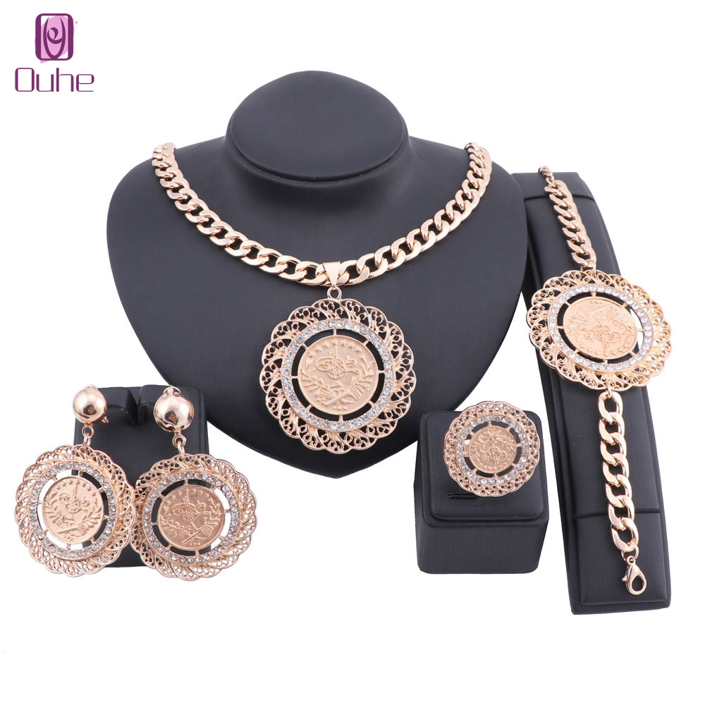 Women Italian Jewelry Dubai Crystal African Big Necklace Bangle Earring Ring Wedding Party Jewellery Set(China)