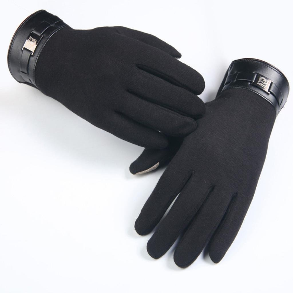 Winter Man Non-slip Thermal Full Finger Smartphone Touch Screen Non-inverted Cashmere Gloves Mittens (Black)