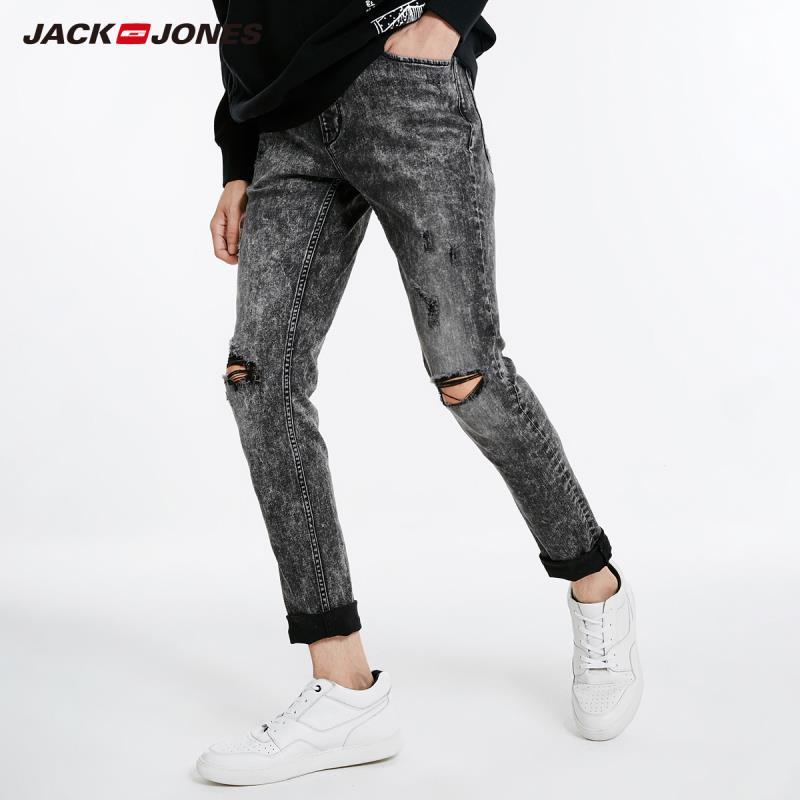 JackJones Autumn Men's Cool Ripped Vintage Casual Jeans Streetwear Denim Pants Menswear 218332598