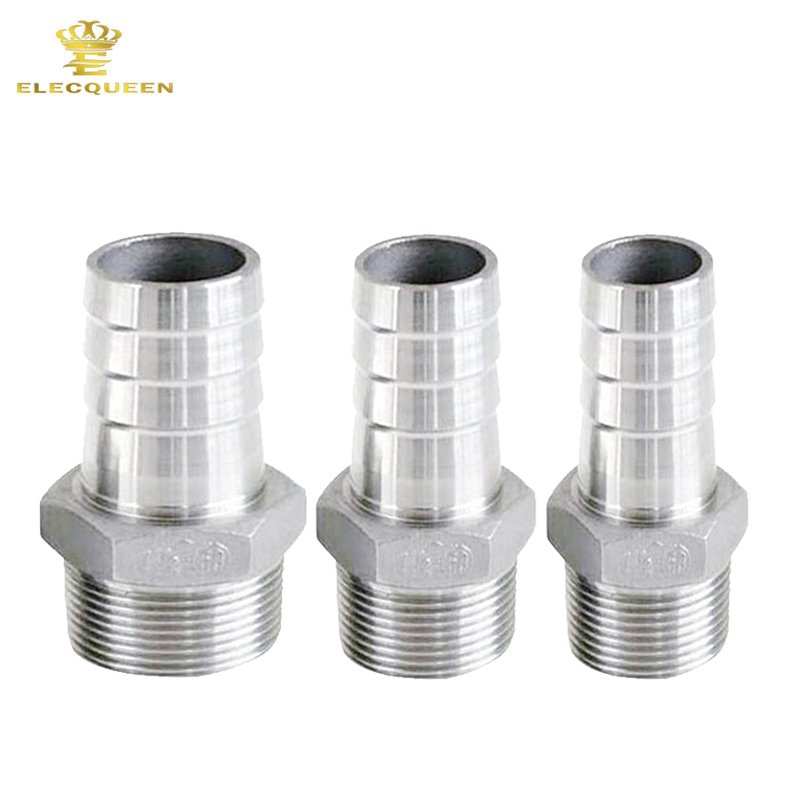 3pcs/lot 1/2 BSP Male Thread Pipe Pipes Fitting x Barb Hose Tail Connector Stainless Steel SS304 Household Tools Hot Sale