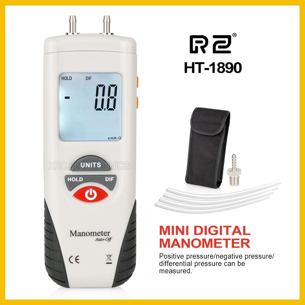 RZ Digital Manômetro ar medidor de pressão medidor de pressão Portátil Kit 55H2O a + 55H2O Data Hold medidor presion HT-1890