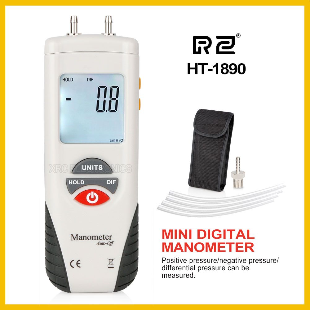 Rz digital manômetro medidor de pressão ar portátil kit 55h2o para + 55h2o medidor presion HT-1890