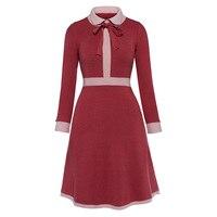 Sisjuly 2017 Vintage Autumn Dresses Knee Length Women Solid Red Party Dresses Elegant Turn Down Collar