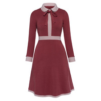 Sisjuly 2017 Vintage Autumn Dresses Knee Length Women Solid Red Party Dresses Elegant Turn Down Collar