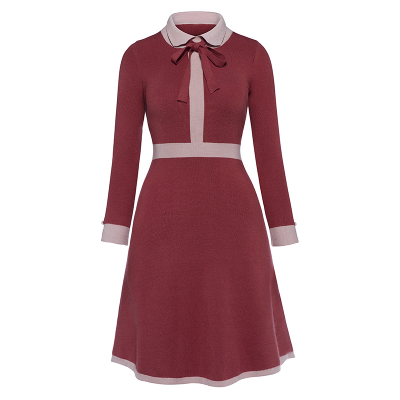 Sisjuly 2018 Vintage Autumn Dresses Knee Length Women Solid Red Party Dresses Elegant Turn Down Collar Zippers Bowknot Dress