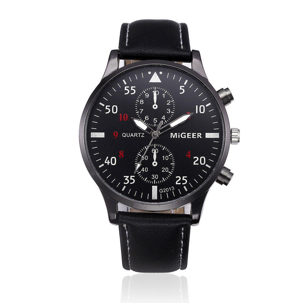 Migeer Men Sport Watch with Black Leather Band