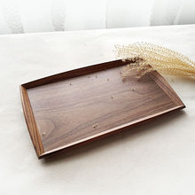 Black walnut wooden tray rectangular Japan style solid wood creative household tea plate cup tray plate heart plate fruit plate(China)