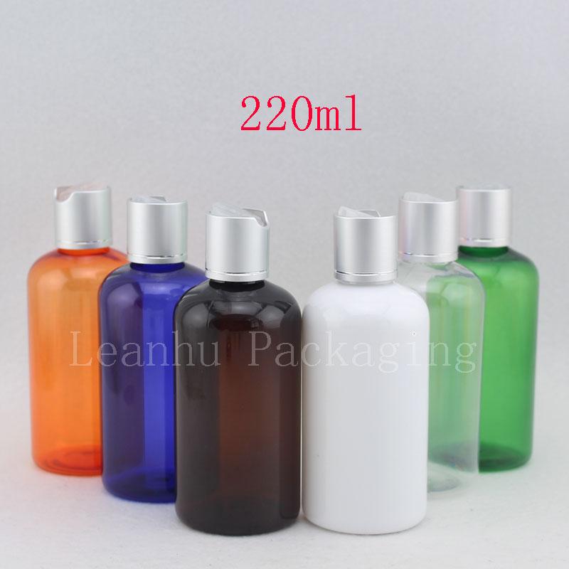 220ml valkoinen muovinen shampoo pullo puristinkorkilla 220cc tyhjä - Ihonhoitotyökalu
