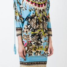Vintage Print Women Sheath Dress Tassel 3/4 Sleeve Mini Dresses 098A695B1